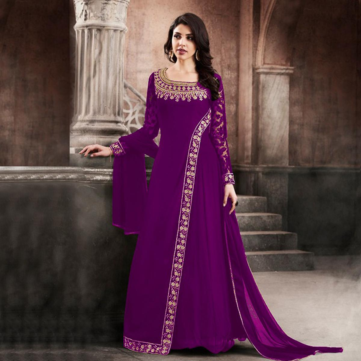 37016dadb4 Buy Graceful Purple Designer Partywear Embroidered Faux Georgette Anarkali  Suit for womens online India, Best Prices, Reviews - Peachmode