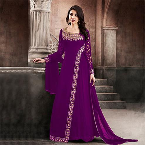 Graceful Purple Designer Partywear Embroidered Faux Georgette Anarkali Suit