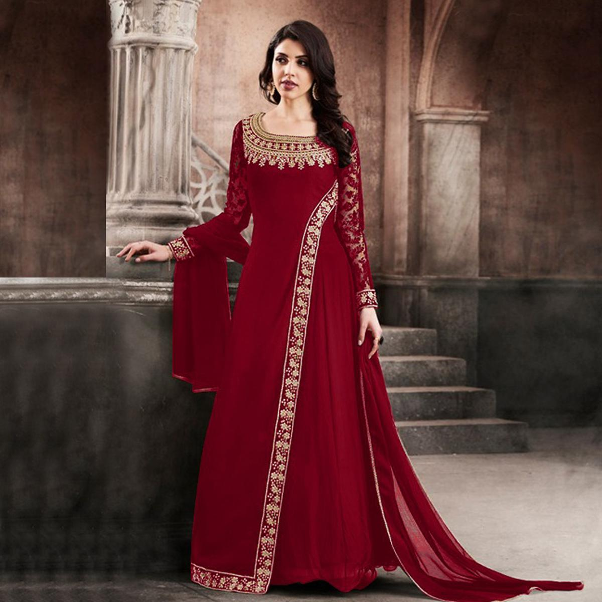 Hot Red Designer Partywear Embroidered Faux Georgette Anarkali Suit