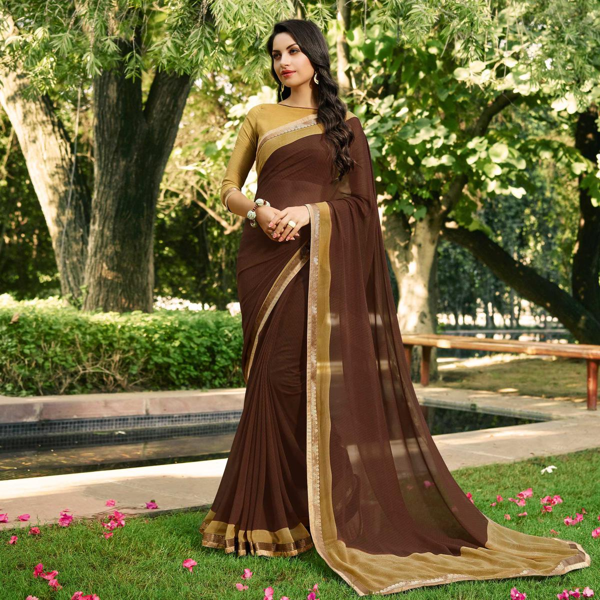 Classy Brown Partywear Georgette Saree