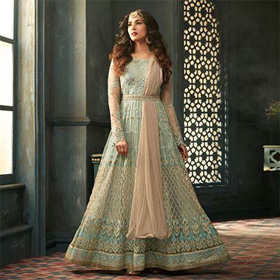 Precious Green Designer Heavy Embroidered Work Wedding Wear Soft Net Anarkali Suit