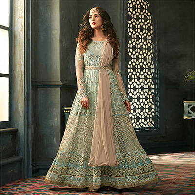 Precious Green Designer Heavy Embroidered Work Wedding Wear Net Anarkali Suit