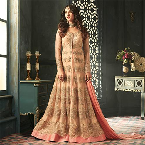 Awesome Peach Designer Heavy Embroidered Work Wedding Wear Soft Net Lehenga Kameez