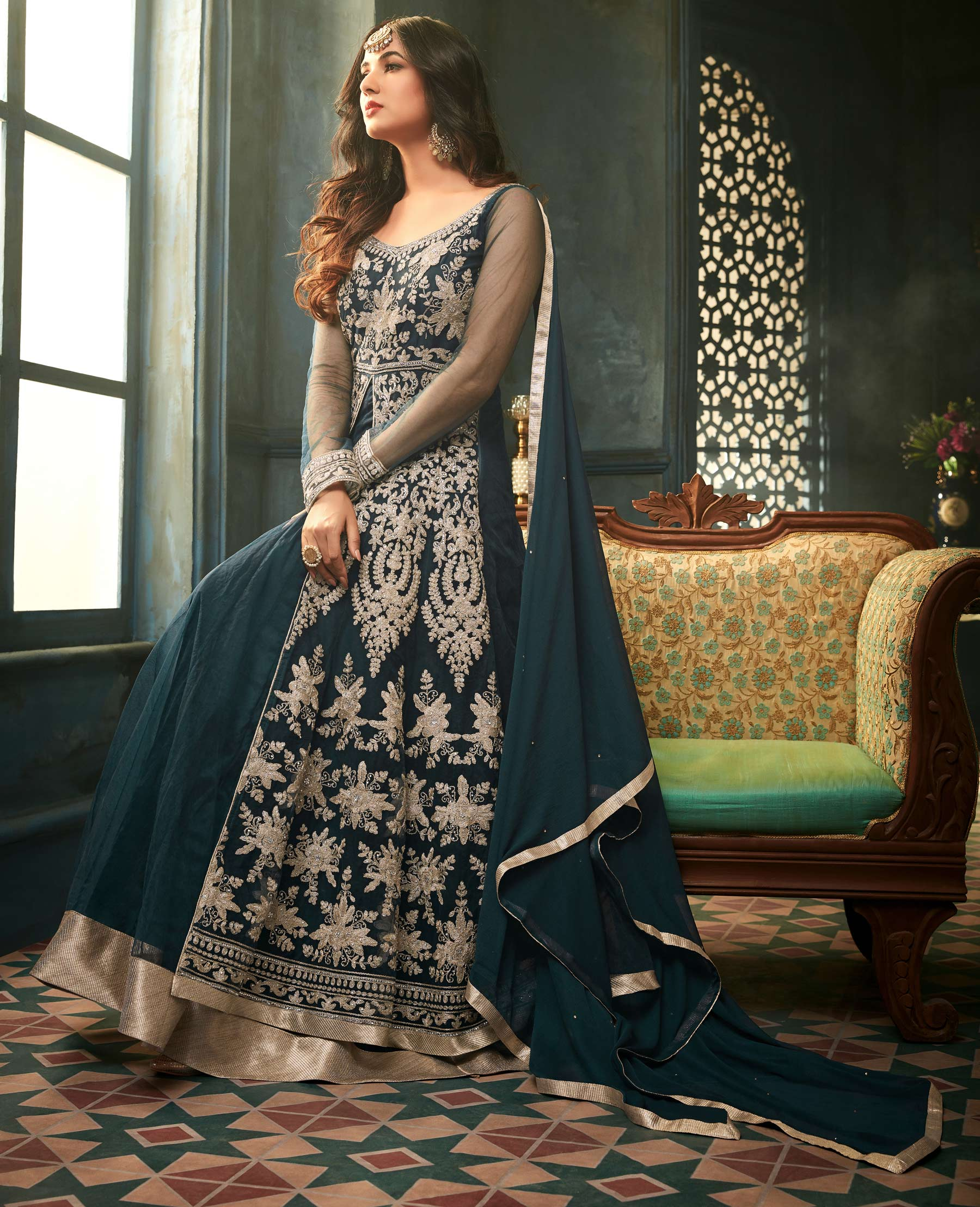 Snazzy Teal Blue Designer Heavy Embroidered Work Wedding Wear Net Lehenga Kameez