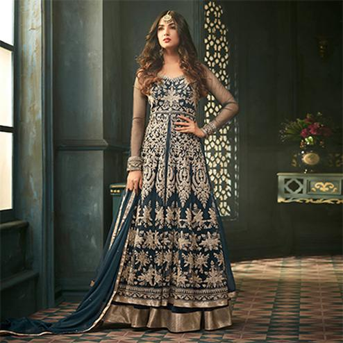 Snazzy Teal Blue Designer Heavy Embroidered Work Wedding Wear Soft Net Lehenga Kameez