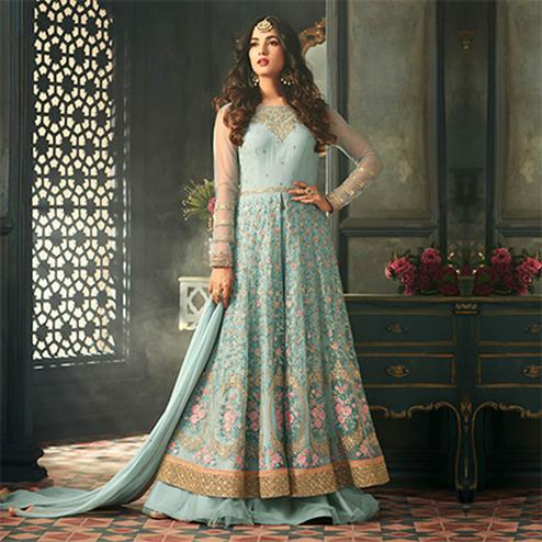 Glowing Sky Blue Designer Heavy Embroidered Work Wedding Wear Soft Net Lehenga Kameez