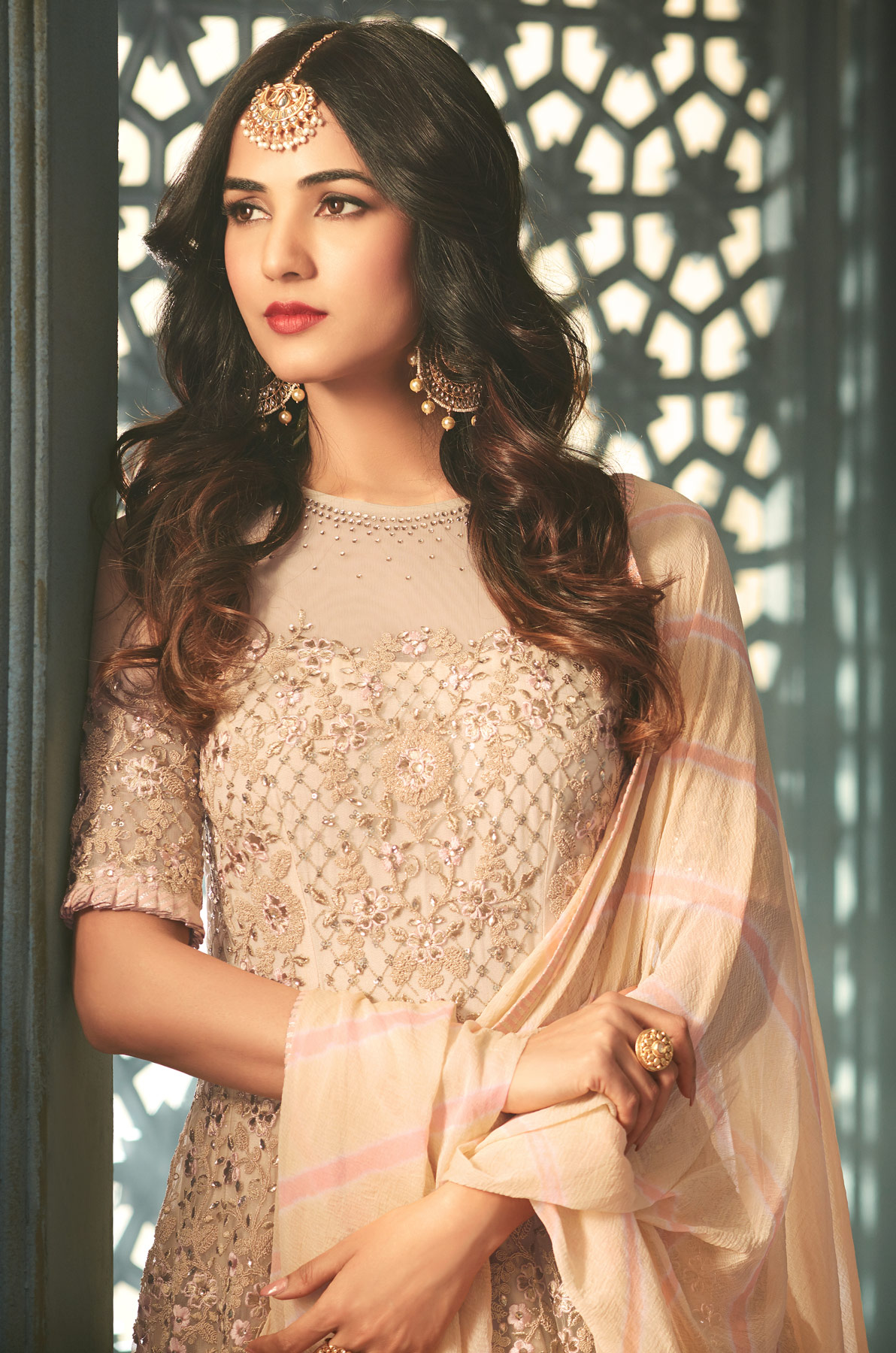 Energetic Beige Designer Heavy Embroidered Work Wedding Wear Net Anarkali Suit