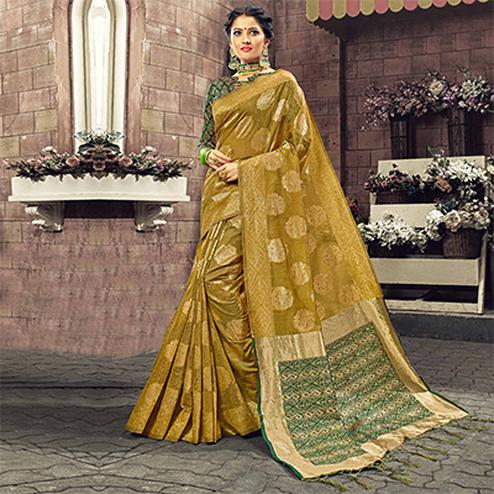 Majesty Mehendi Green Colored Festive Wear Woven Cotton Silk Saree