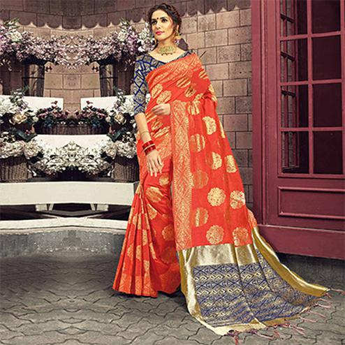 Impressive Orange Colored Festive Wear Woven Cotton Silk Saree