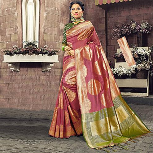 Ethnic Pink Colored Festive Wear Woven Cotton Silk Saree