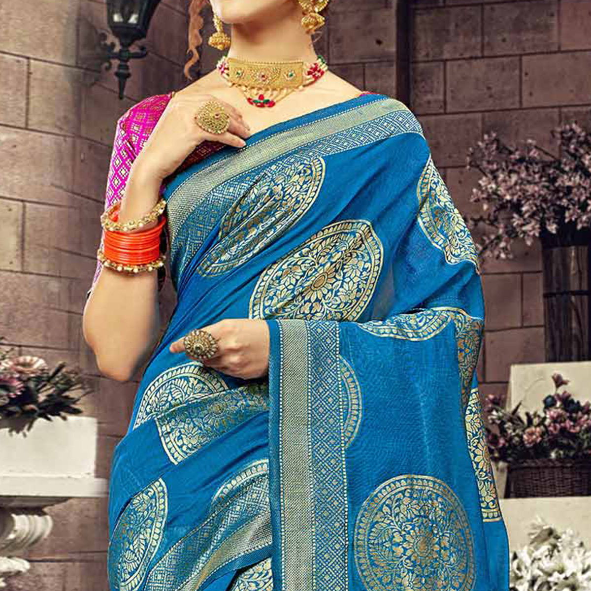 Catchy Blue Colored Festive Wear Woven Cotton Silk Saree
