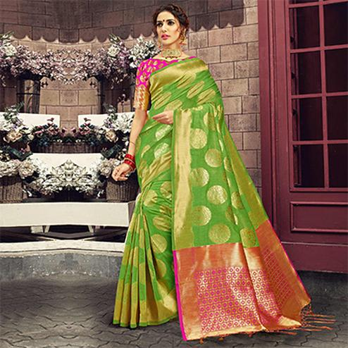 Sensational Light Green Colored Festive Wear Woven Cotton Silk Saree