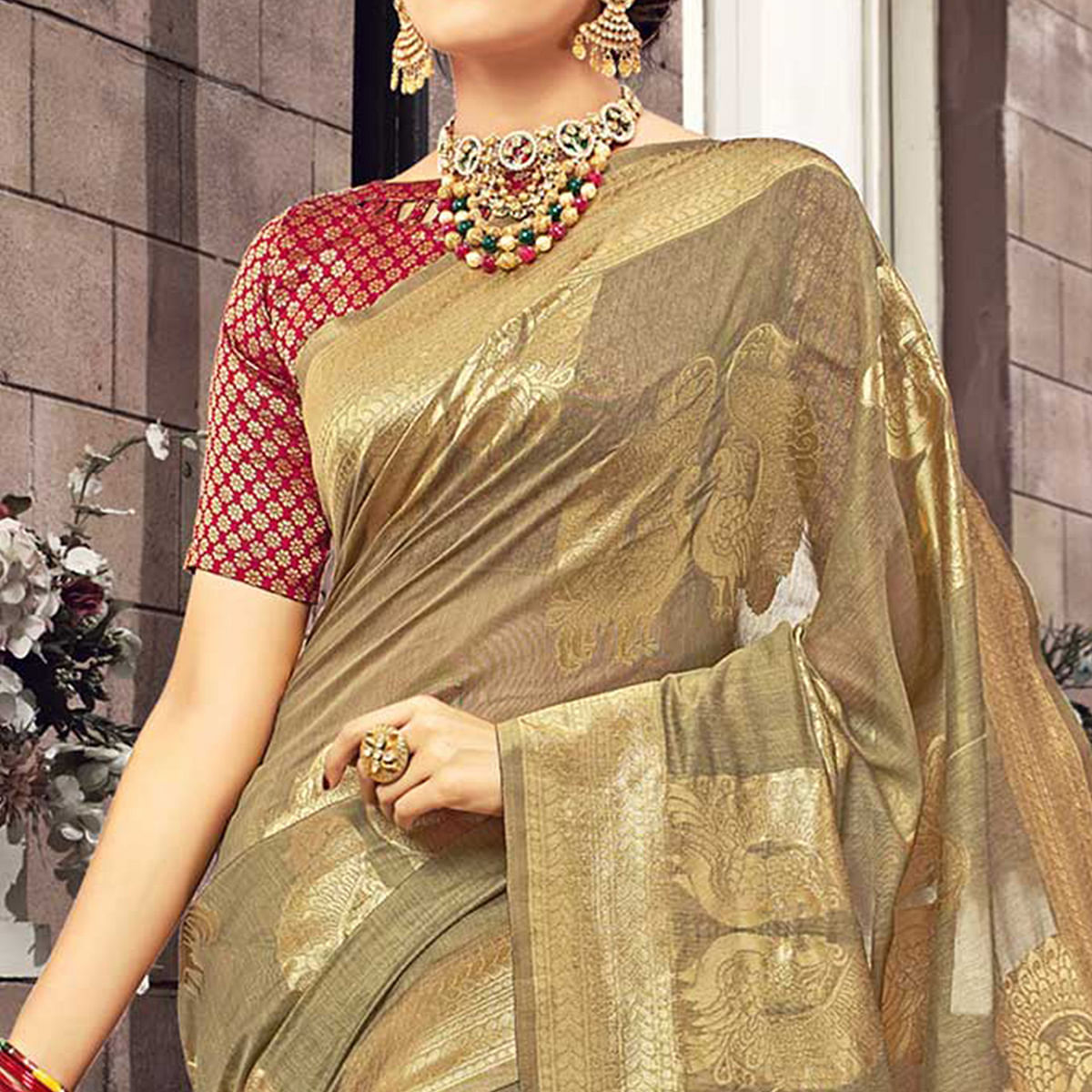 Glorious Beige Colored Festive Wear Woven Cotton Silk Saree