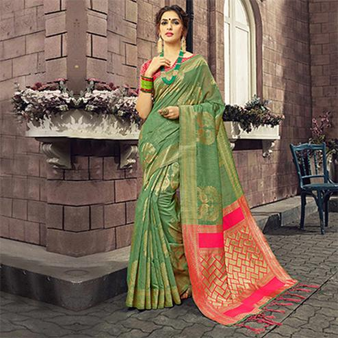 Perfect Green Colored Festive Wear Woven Cotton Silk Saree