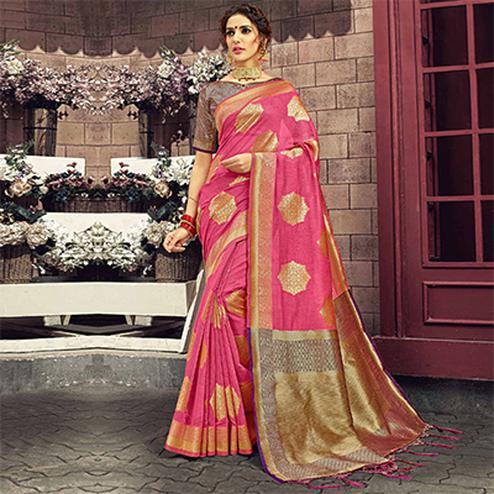 Exceptional Pink Colored Festive Wear Woven Cotton Silk Saree