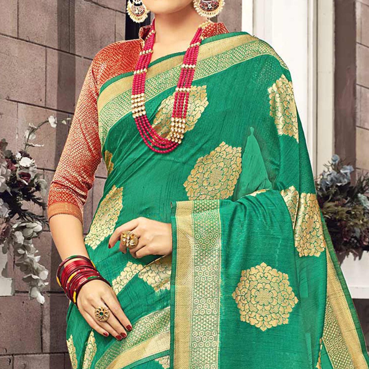 Rich Green-Brown Colored Festive Wear Woven Cotton Silk Saree