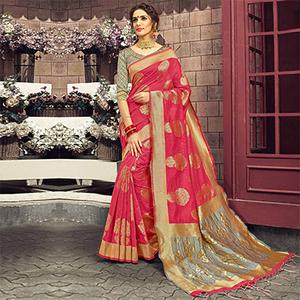 Glowing Pink-Grey Colored Festive Wear Woven Cotton Silk Saree