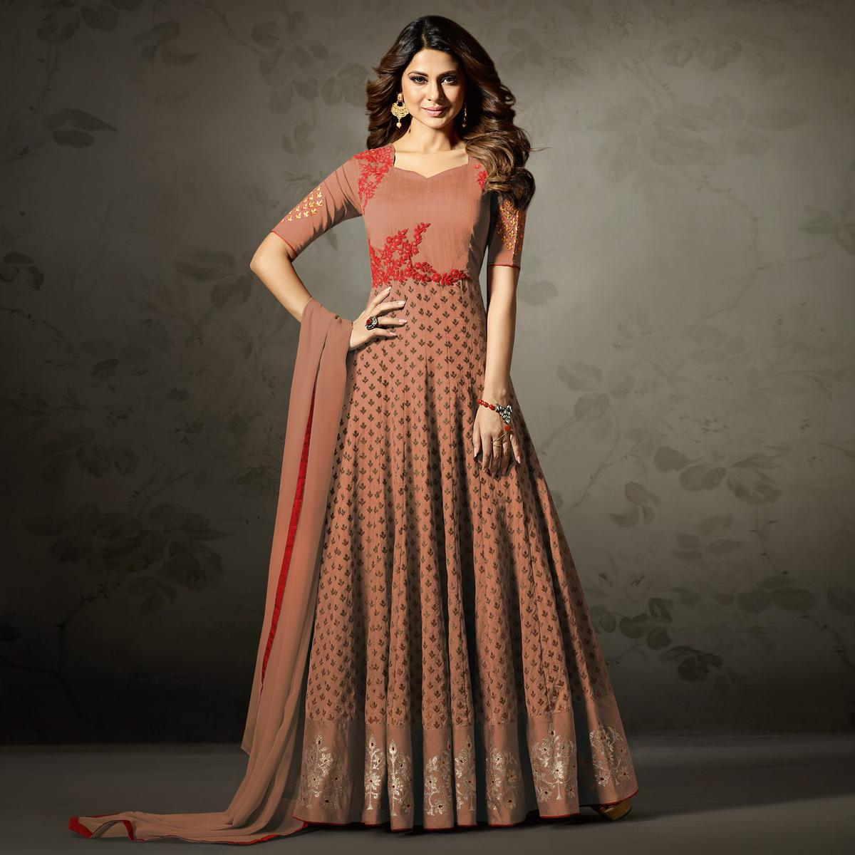 Majestic Blush Peach Colored Partywear Embroidered Silk-Jacquard Anarkali Suit