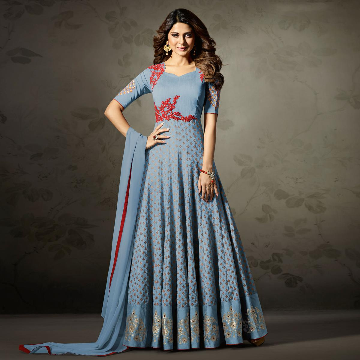 Attractive Blue Colored Partywear Embroidered Silk-Jacquard Anarkali Suit