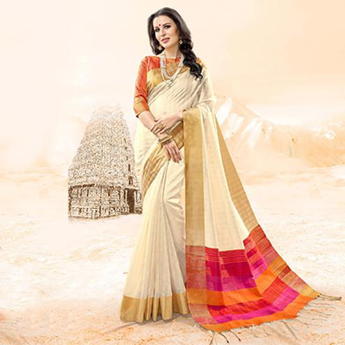 Prominent Off-White Colored Festive Wear Handloom Cotton Silk Saree
