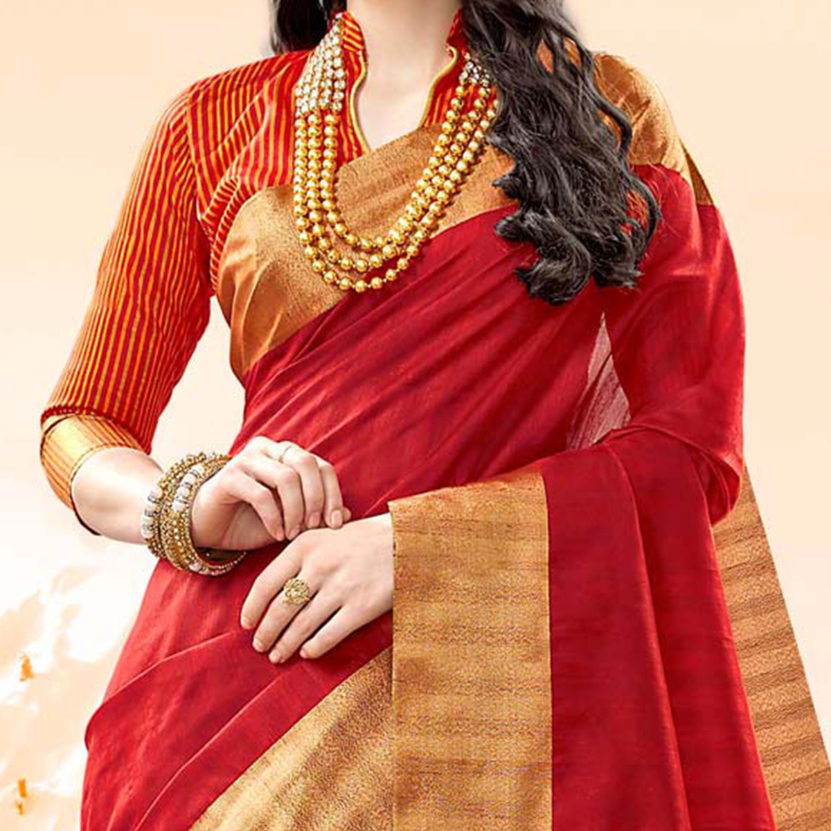 Deserving Maroon Colored Festive Wear Handloom Cotton Silk Saree