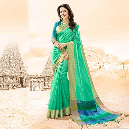 Extraordinary Sea Green Colored Festive Wear Handloom Cotton Silk Saree