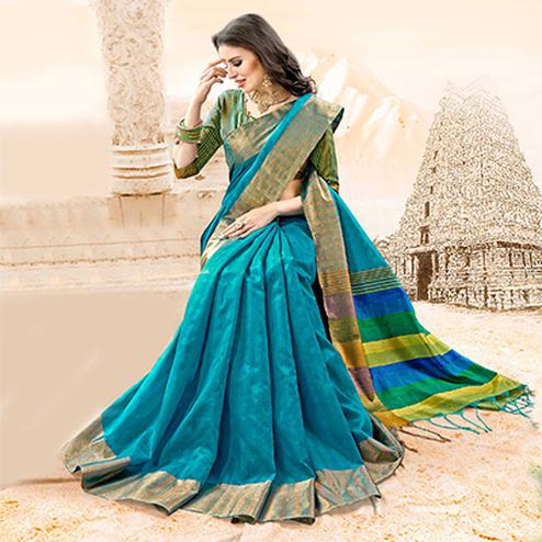 Energetic Turquoise Blue Colored Festive Wear Handloom Cotton Silk Saree
