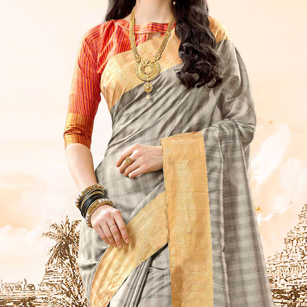 Snazzy Grey Colored Festive Wear Handloom Cotton Silk Saree