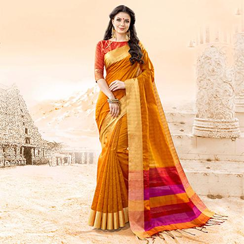 Awesome Mustard Yellow Colored Festive Wear Handloom Cotton Silk Saree