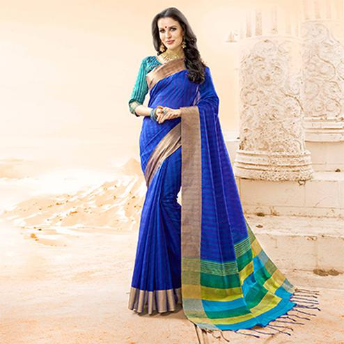 Precious Royal Blue Colored Festive Wear Handloom Cotton Silk Saree