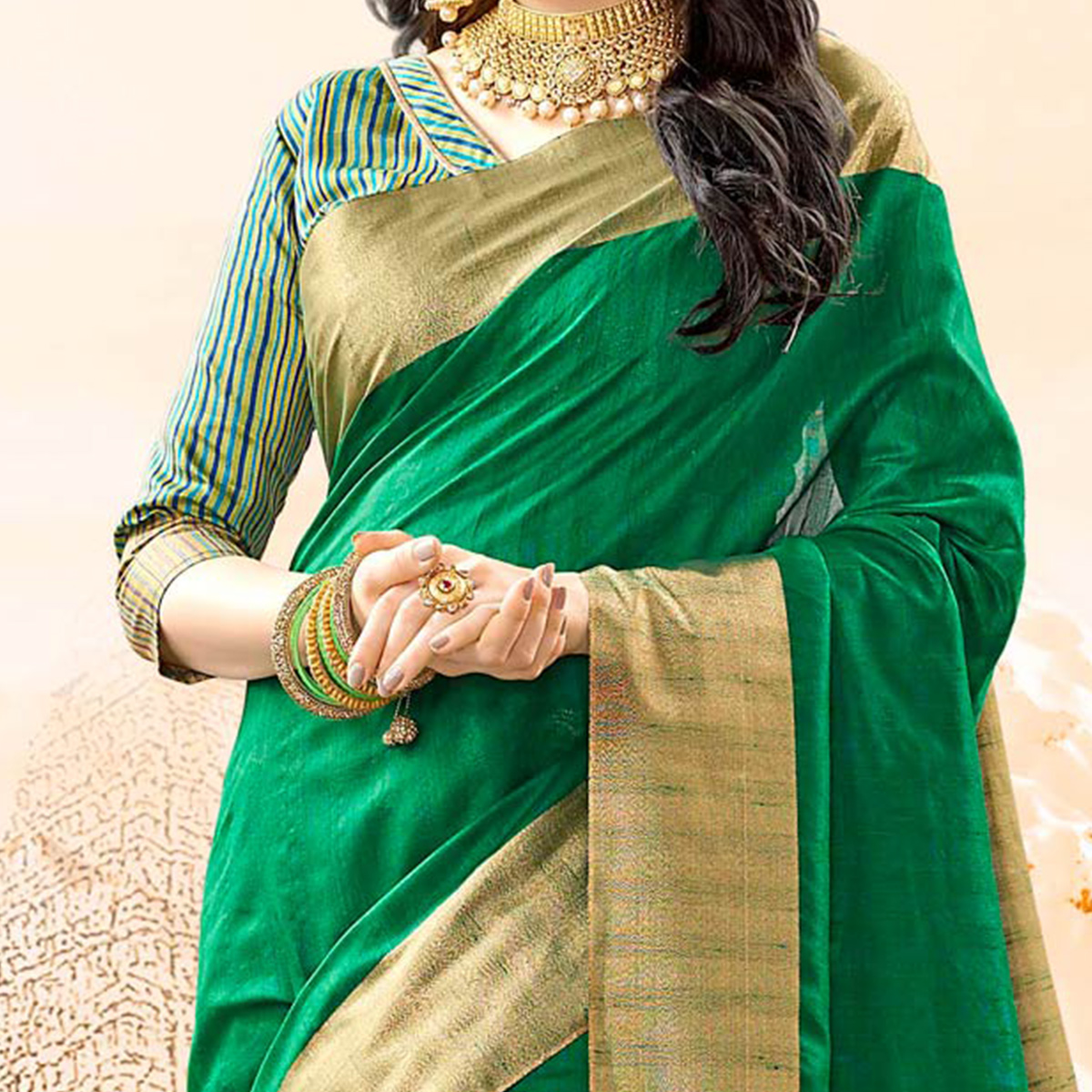 Glowing Green Colored Festive Wear Handloom Cotton Silk Saree