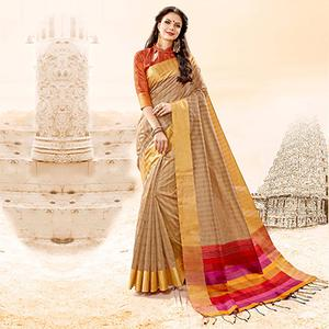 Majesty Beige Colored Festive Wear Handloom Cotton Silk Saree