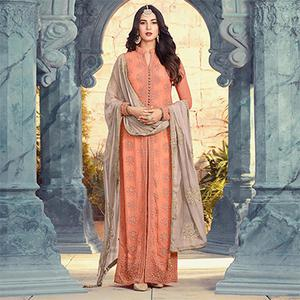 Marvellous Peach Colored Designer Embroidered Georgette Suit