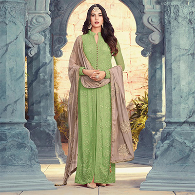 Sophisticated Pista Green Colored Designer Embroidered Georgette Suit