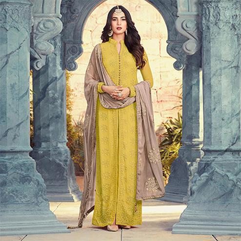Refreshing Light Olive Green Colored Designer Embroidered Georgette Suit
