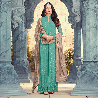 Energetic Turquoise Blue Colored Designer Embroidered Georgette Suit