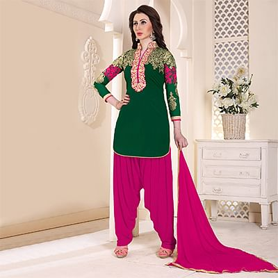 Trendy Green Partywear Embroidered Georgette Patiala Suit
