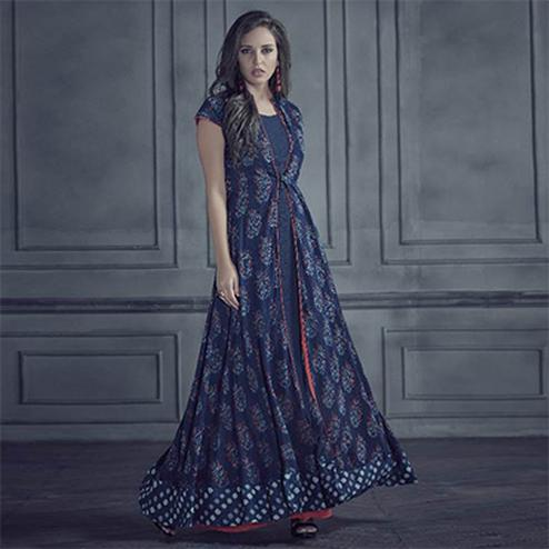 Elegant Navy Blue Colored Designer Printed Rayon Kurti