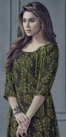 Opulent Olive Green Colored Designer Printed Rayon Kurti