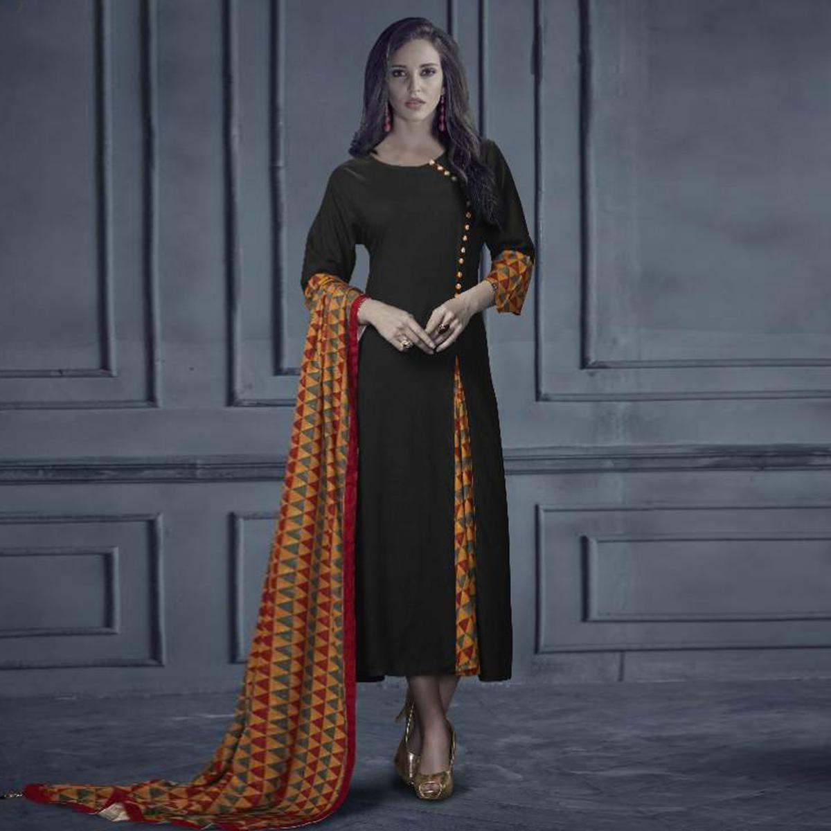 Impressive Black Colored Designer Printed Rayon Kurti