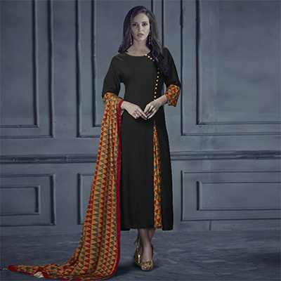 Impressive Black Colored Designer Printed Rayon Kurti With Dupatta