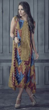 Majesty Multi Colored Designer Printed Rayon Kurti