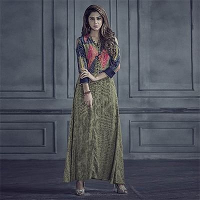 Adorning Green Colored Designer Printed Rayon Kurti
