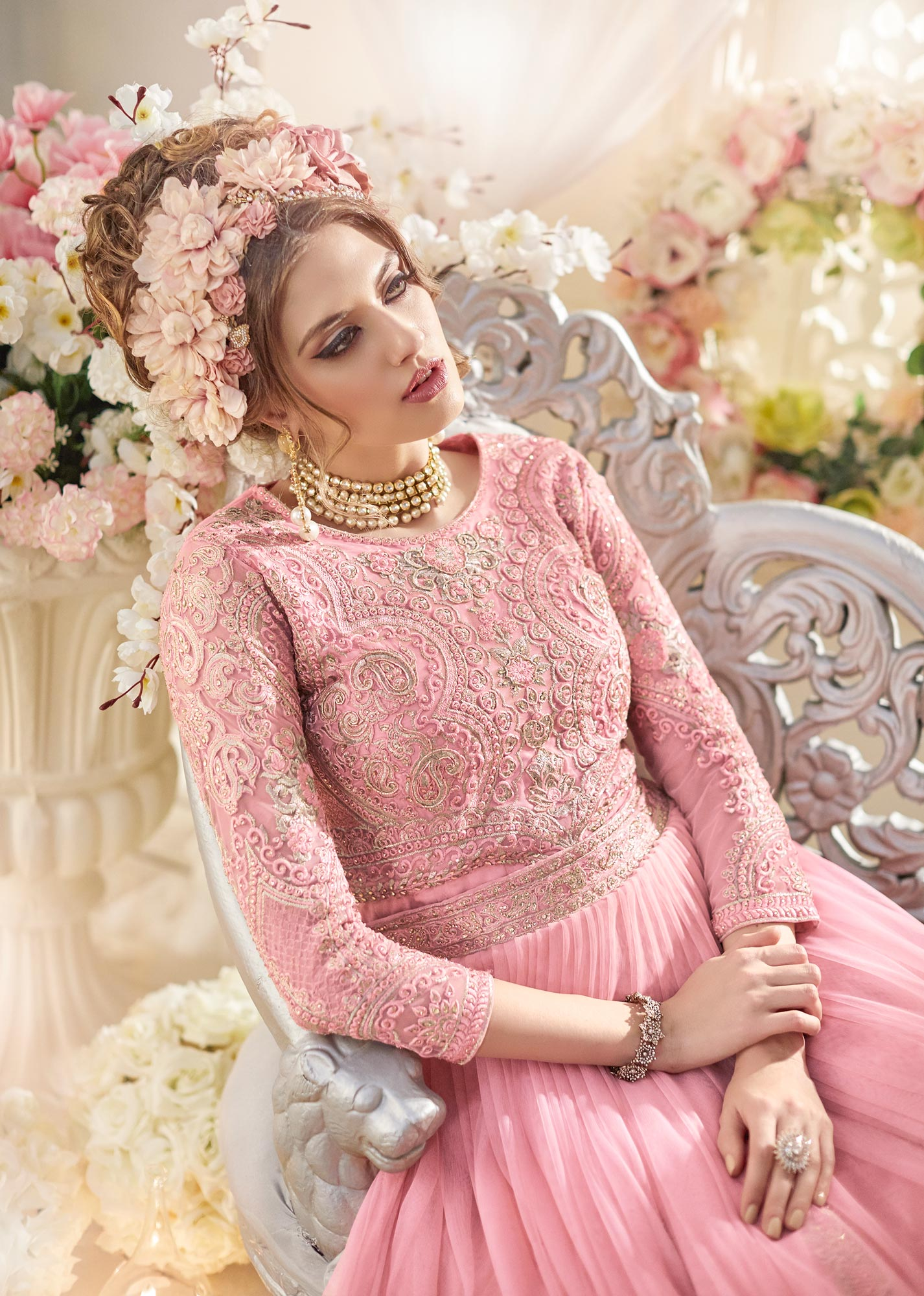 Mesmerising Pink Colored Designer Patywear Embroidered Net Anarkali Suit