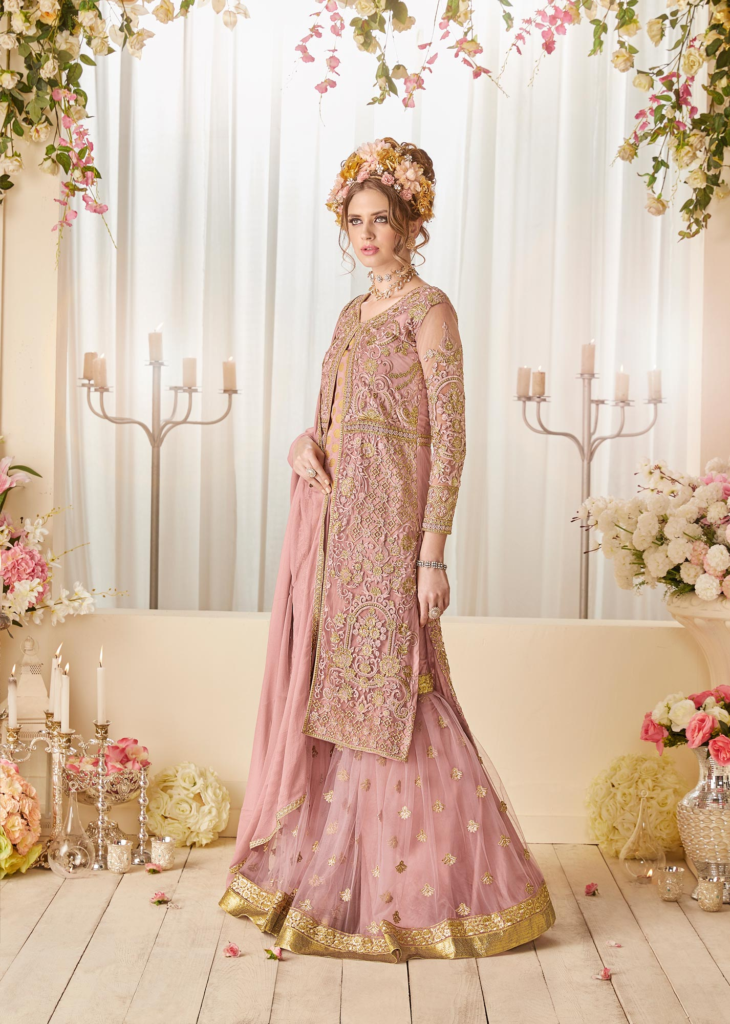 Gorgeous Dusty Pink Colored Designer Patywear Embroidered Net-Banarasi Jacquard Palazzo Suit