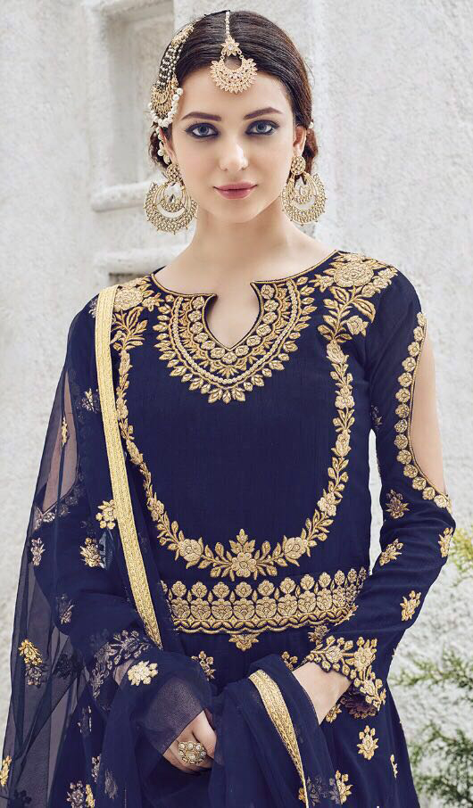 Hypnotic Navy Blue Colored Designer Patywear Embroidered Silk Anarkali Suit