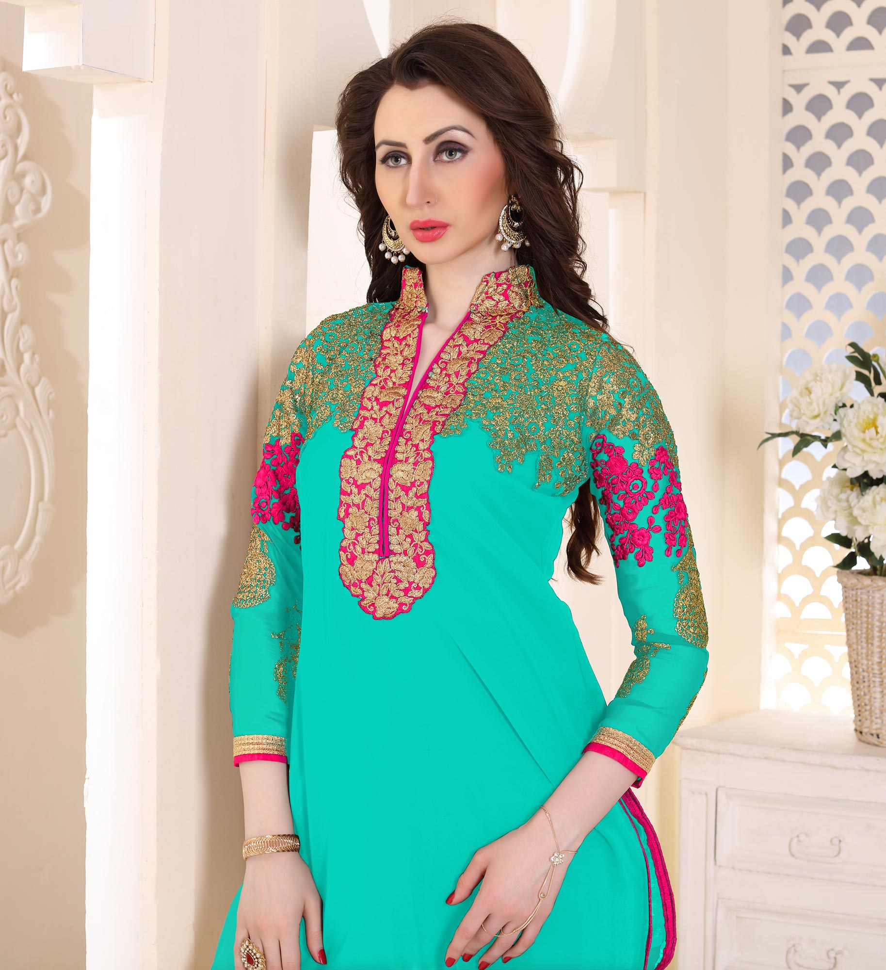 Trendy Sky Blue Partywear Embroidered Georgette Patiala Suit