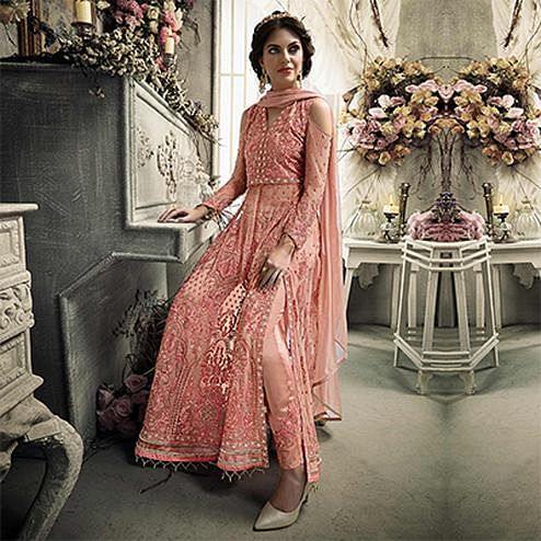 Desiring Peach Colored Designer Patywear Embroidered Net Anarkali Suit