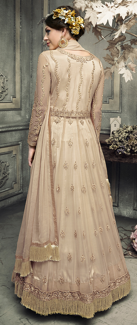 Glorious Beige Colored Designer Patywear Embroidered Net Anarkali Suit