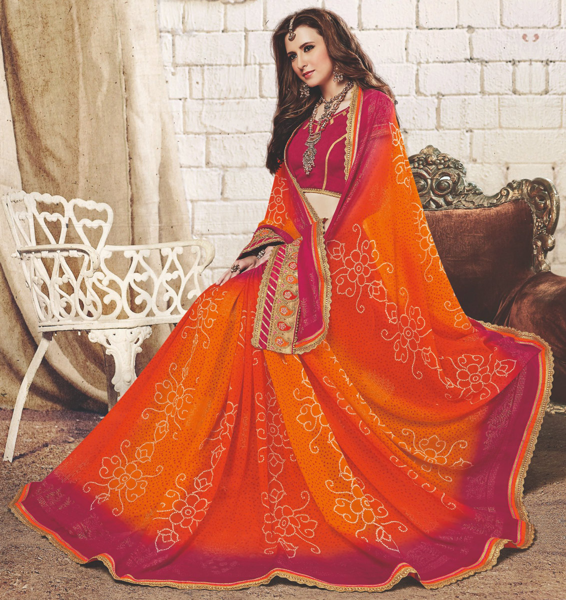 Orange Colored Traditional Bandhani Printed Georgette Saree